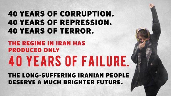 ترامب: الثورة في إيران 40 عاما من الفساد والقمع والإرهاب