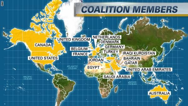 على الخريطة أبرز الدول المشاركة بالتحالف الدولي ضد داعش