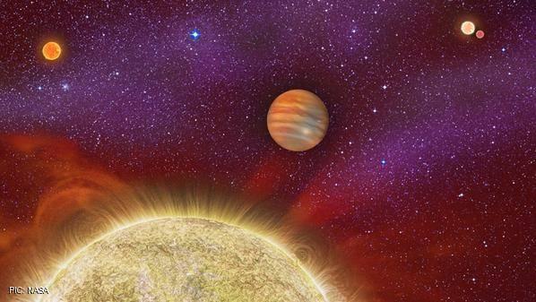 كوكب غازي عملاق تحيط به 4 شموس