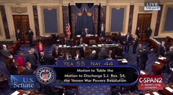 الشيوخ الأمريكي يفشل في تمرير مشروع قرار ينهي دعم الولايات المتحدة لحملة السعودية في الحرب باليمن
