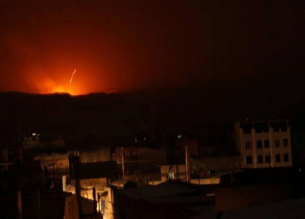 انفجارات تهز العاصمة صنعاء جراء غارات جوية (الأماكن المستهدفة)