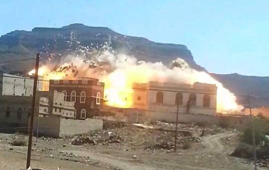 مليشيا الحوثي تفجر منزل احد المواطنين شرق صنعاء