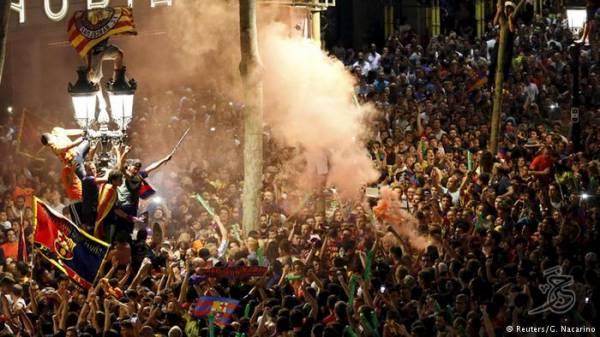 احتفالات شعبية في برشلونة بالفوز بكأس أبطال أوروبا