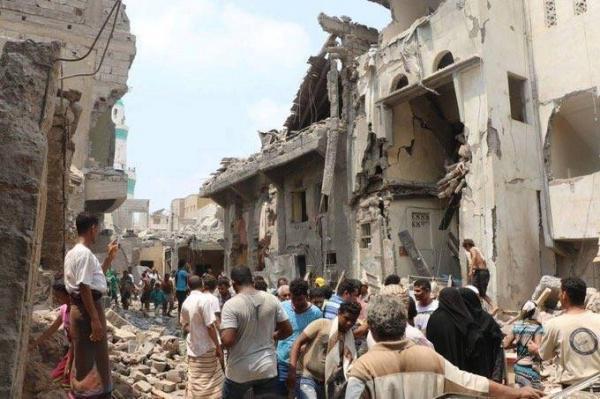 جريمة حرب وإبادة جماعية في صور- هنا حي &#34سوق الهنود&#34 في اليمن