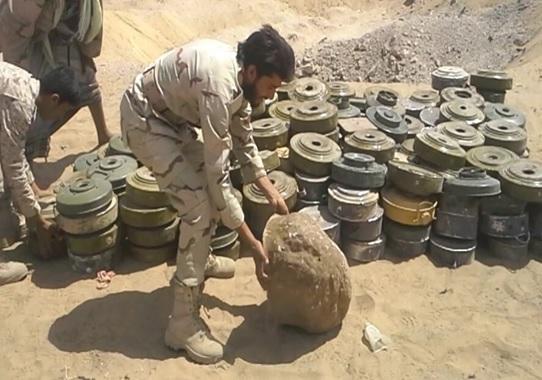 نزع أكثر من 400 لغم وعبوة ناسفة زرعتها مليشيا الحوثي في مديرية باقم بصعدة