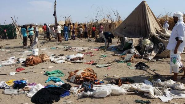 الأمانة العامة لمنظمة الهلال والصليب الأحمر تدين جريمة الحوثيين بحق مخيم بني جابر