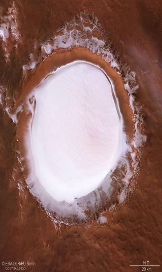 عجائب المريخ.. صور مذهلة لفوهة بركانية مملوءة بجليد سميك جدًا
