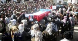 لحج : تشييع جثمان احد القتلى برصاص قوات الجيش