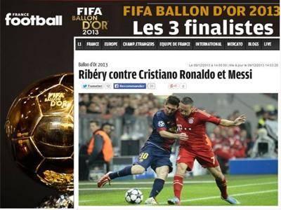 """تنافس """"رونالدو - ميسي - ريبيري"""" على لقب أفضل لاعبي العالم في 2013"""