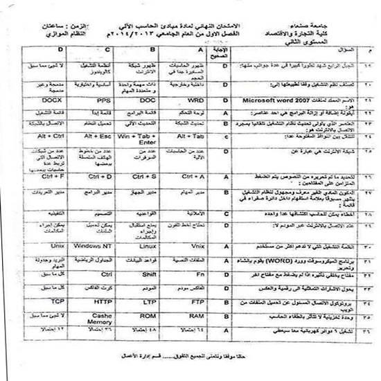 توزيع ورقة أسئلة محلولة في اختبار بتجارة صنعاء.. (صورة)