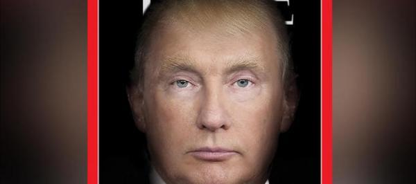 وجهان لعملة واحدة.. مجلة Time تدمج صورتَي ترامب وبوتين في وجهٍ واحدٍ على غلافها