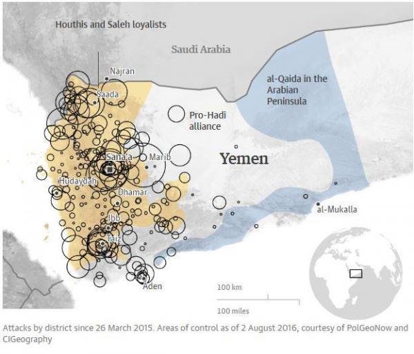 تحقيق- الغارديان: أكثر من ثلث غارات التحالف بقيادة السعودية أصابت مواقع مدنية في اليمن